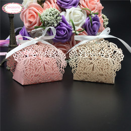 Wholesale Cutting Food Box - Wholesale-50pcs Rose Flower Paper Wedding Box Laser Cut Chocolate Packaging Mariage Favors And Gifts Birthday Party Supplies Anniversaries