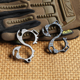Wholesale Car Buckles - MG gear Titanium Anodizing outdoor Gadgets bottle opener EDC Multifunction hand tools hook Buckle punch daggers Knuck knuckles Multi tool