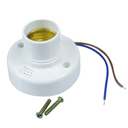 Wholesale Energy Caps - Sound and Light Control Lamp Holder Switch E27 Screw Cap Lamp Base 4pcs lot 110V 220V for indoor led light energy saving lamps