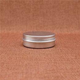 Wholesale Small Travel Jars - Refillable 25g Cosmetic Jar Batom Lip Balm Eye Cream Small Aluminum Tin Empty Travel set Silver Container Screw Cap
