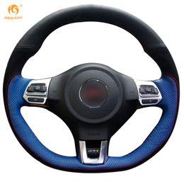 Wholesale Volkswagen Blue - Mewant Black Blue Genuine Leather Black Suede Car Steering Wheel Cover for Volkswagen Golf 6 GTI MK6 VW Polo GTI Scirocco R