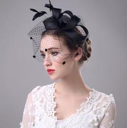 Wholesale Headband Top Hat Fascinator - Luxury Bridal Hats Women Wedding Party Hat Performances Organza Bows Feather Head Flower Hair Band Headbands Top Quality