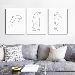Wholesale Picasso Art Pictures - Modern Picasso Minimalist Sea Animal Shape Canvas A4 Art Print Poster Abstract Dolphin Wall Picture Home Decor Painting No Fram