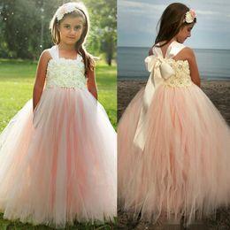 Wholesale Cheap Pink Kids Prom Dresses - Cheap Flower Girls Dresses For Weddings Lace Tulle Flower Girl Prom Ball Gowns Kids Little Girl Pageant Dress Beads Long Floor Length
