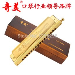 Wholesale harmonica 16 - Wholesale-free shipping Chi mei brand 16 hole 64 chromatic harmonica titanium gold plating 215*50*35mm