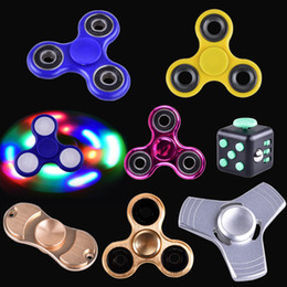 Wholesale Choice Metals - EDC led light metal Aluminum Fidget Spinner fidget cube Toy Good Choice For decompression anxiety Finger Toys Killing Time Free DHL ZH