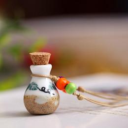 Wholesale Wooden Bohemian Necklaces Wholesale - Cute Multi Color Handmade Ceramic Perfume Bottle Pendant Necklace Fashion Wooden Beads Dry Perfume Jars Pendant Jewelry Women Gifts 20PCS