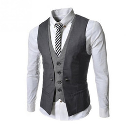 Wholesale Wholesale Men Vests - Wholesale- Men's Waistcoat Causal Slim Sleeveless Formal Coat Business Suit Vest Wine Red Black Blue Size M-XXL