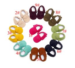 Wholesale Baby Fringe - Baby Soft PU Leather Tassel walker shoes baby Bow Fringe Tassel Shoes Moccasin Tassels Baby First Walkers 16 colors