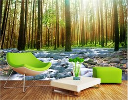 Wholesale Water Painting Photos - 3d room wallpaper custom photo mural Sunshine forest water home decor painting picture 3d wall murals wallpaper for walls 3 d