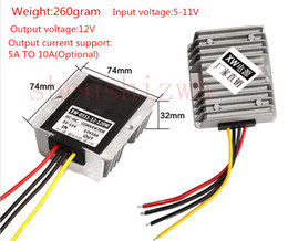 Wholesale Step Up Power - 5V-11V TO 12V 1A-20A power converter DC-DC step-up DC booster power adaper with Waterproof aluminum shell Free DHL shipping