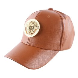 Wholesale Leather Snapback Design - women men baseball cap hat luxury metal goldtone design PU leather girl boy unisex snapback cap hat outdoor sports casquette