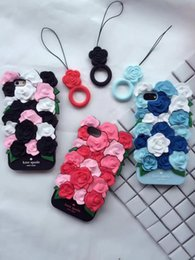 Wholesale Blue Floral Iphone Cases - 3D Flower Rose Silicone Soft Case For IPhone X 8 7 7 Plus 6 6S Plus SE 5 5S I7 7P Blossom Fashion Floral Luxury Back Cover Skins+Strap