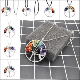 Wholesale Natural Ruby Stone Jewelry - 7 Chakra Life Of Tree Necklace 6 Different Styles Pendant Wire Wrap Natural Stone Bead Multicolor Rainbow Fashion Jewelry B156S