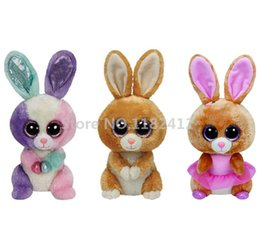 Wholesale Ty Plush Rabbit Toy - Wholesale- TY Beanie Boos Plush Animals Rabbit Bunny Bloom Twinkle Toes Carrots Cute Big Eyes Baby Girls Toys for Children Kids Gifts