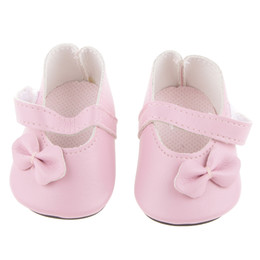 Wholesale 18 Inch American Doll - New Pink Pair Flat Shoes with Bow for 18 inch American Girl Our Generation Journey Dolls Clothes Dollhouse Decoration Accessory