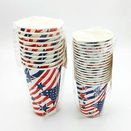 Wholesale Star Strip Paper - 18pcs lot American Flag Coffee Disposable Paper Cup July 4th Stars Strip Drinking Ware 266ml 473ml Patriotic
