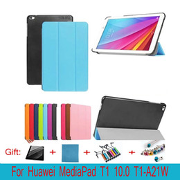 Wholesale Huawei Tablet Accessories - Tri-folding Flip PU Leather Case For Huawei T1 10.0 T1-A21W Tablet Case for Huawei MediaPad T1 T1-A21W Case