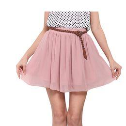 Alta cintura flare saias on-line-Saias de verão Mulheres de Cintura Alta Dupla Camada de Chiffon Plissado Sólida Sexy Queimado Curto Micro Mini Adulto Saia de Tule