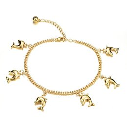Wholesale Dolphin Anklets - Hot Sale Fashion Link Chain Anklets for Girls Women 18K Yellow Gold Plated Dolphin Pendant Anklets For Women Girl Foot Bracelets Jewelry AKL