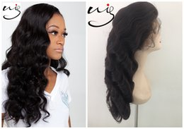 Wholesale High Quality Wigs For Cheap - free shipping fast delivery high quality cheap 100% brazilian human hair body wave natural black lace frontal wigs for black women
