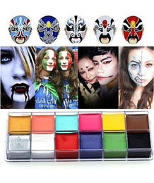 Wholesale Body Art Party - 1 Set 12 Colors Tattoo Face Body Paint Oil Painting Art Halloween Party Fancy Dress Beauty Makeup Tools