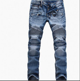 Wholesale Men Jeans Thickening - Europe and the United States in Europe and the United States locomotive folding elastic jeans thickening pocket zipper straight Slim pants b