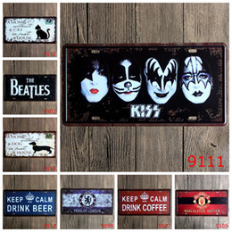 Wholesale Kissing Paintings - Antique License plates retro metal tin signs keep kiss home dog cat wall decoration plaque vintage iron painting art pub bar craft gift