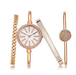 Wholesale Wholesale Champagne Diamonds - NEW Luxury Diamond Women's Dress Watches Multi-Color Wristwatch+3 Bracelets Set Jewelry Buckle Quartz Party Fashion Alloy Casual Watch