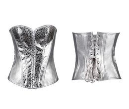 Wholesale Leather Basque Tops - Zip Front Silver Faux Leather Shinning Sexy Corset Top Basques Bustier Lingerie Small To 2XL 856