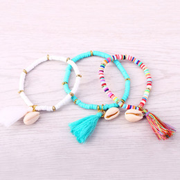 Wholesale Elastic Shell Bracelets - Wholesale-JM 5 Colors Polymer Clay CCB Elastic Charm Bracelet for Women Men Jewelry New Arrival Tassel Shell Bracelets & Bangles