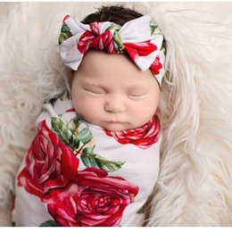Wholesale Headband Roses - Retail Newborn Baby Girls Rose Flower Receiving Blankets Cotton Swaddles With Headband 2Pcs Sets 0-3 Monthes E624