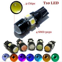 Wholesale 194 Smd Led - 10X T10 led 5050 4 smd+ 1.5w leds Car Lights W5W 194 168 501 wholesale LIGHT BULBS White Blue Red