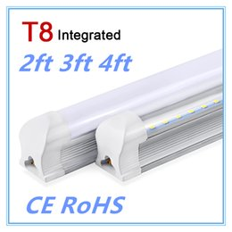 Wholesale Milky Tube - LED Tube T8 600mm 2ft 10W LED Light Integrated Tube LED Lamp 220V 240V SMD2835 Super Bright Wall Lighting Bulb Clear Milky Cover