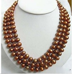 Wholesale Brown Beaded Necklaces - Details about Good 3 rows Chocolate Brown shell pearl clasp necklace 17-19""