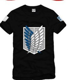Wholesale Freedom Sleeve - new arrive Japan anime Attack on Titan Scouting Legion Wings Of Freedom Badge printed Men women t shirt 100% cotton kids t shirt