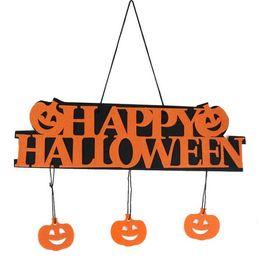 Wholesale Happy Window - Halloween Decoration HAPPY HALLOWEEN Hanging Hang Tag Window Decoration Pumpkin Hanging Strips G789