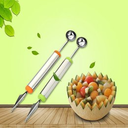 Wholesale Home Steel Bar - Home Kitchen Bar Fruit Carving Cutter Watermelon Cantaloupe Melon Dig Ball Scoop Stainless Steel Metal DHL Free Shipping