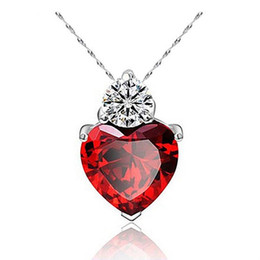 Wholesale Wholesale Red Dress - Pendant Necklace 925 Stering Silver Chain Charms Zircon Heart love Women Pendant for jewelry making pendulum Silver Plated Dress accessories