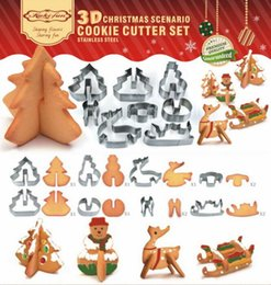 Wholesale Metal Cookie Cutter Sets - 3D DIY stainless steel cookie mould Double sugar cake pan Christmas theme metal cake cutters mould 8 pcs set