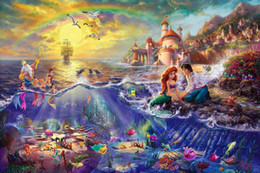 Wholesale Canvas Hd Paintings - Framed The Little Mermaid Thomas Kinkade Oil Painting,HD Art Canvas Prints Home Decor Wall Art On Canvas,Multi sizes,Free Shipping,Pr002