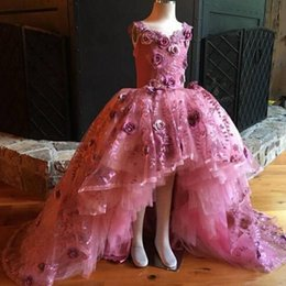 Wholesale Party Princess Brown - High Low Princess Girls Pageant Dress With Handmade Flowers Lace And Tulle Flower Girls Dresses For Weddings Custom Made Kids Party Dress