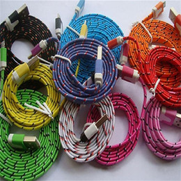Wholesale Galaxy Note Colors - Noodle Braided Micro USB 2.0 Cable Sync Data Charging 1m 2m 3m Cord Flat Woven Fabric Dual Colors For Samsung Galaxy S3 S4 Note 2 HTC M7 M8
