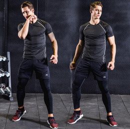 Wholesale Male Tracksuits - Quick Dry Sport Gym Suits Mens Sportswear Fitness Basketball Running Sets Training Jogging Tracksuit Male top quality