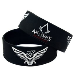 Wholesale Ink Fill - Hot Sell 1PC The Assassin's Creed Syndicate Silicone Bracelet With Ink Filled Logo, Great For The Gamers Gift