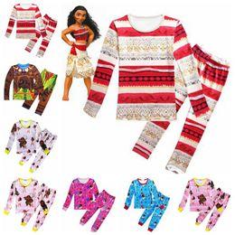 Wholesale Wholesales Suits - 7 Designs Moana Clothing Sets Baby Autumn Toddler Kids Children Long Sleeve Anime Printed Pajamas Clothes Suits 2pcs set CCA6895 50set