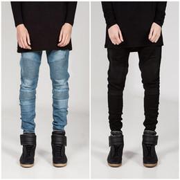Wholesale Denim Capris For Men - Wholesale-Fashion Designer Men Skinny Biker Jeans Joggers Pleated Hip Hop Swag Moto Black Grey Blue Denim slim fit strech Pants For Man