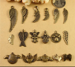 Wholesale Wholesale Material Love Hearts - Bulk DIY love friend word handmade jewelry material, ZAKKA retro heart wings angel charms Medallion flying fairy feather Pendant accessories