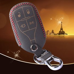 Wholesale Mercury Key Fob - Leather Car Key Cover Case Holder Shell Keyless Entry Fob for Maserati CEO   Ghibli 4 Buttons Smart key Remote