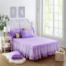Wholesale White Cotton Lace Sheet - Wholesale- SunnyRain 3-Pieces Solid Color Lacework Korean Bedding Set King Size Queen Bed Set Bed Sheet With Elastic Pillow Case sabanas